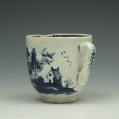 Lowestoft Two Story House and River Pattern Coffee Cup c1785-95 (5)
