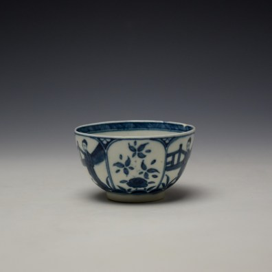 Worcester Arcade Pattern Teabowl and Saucer c1765-70 (3)