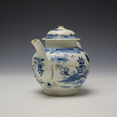 Uncommon Lowestoft Two Pagoda and Walled Garden Teapot and Cover c1780-90 (3)
