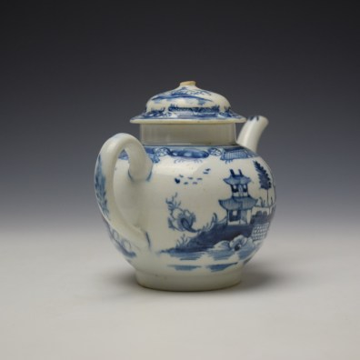 Uncommon Lowestoft Two Pagoda and Walled Garden Teapot and Cover c1780-90 (6)