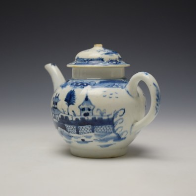 Uncommon Lowestoft Two Pagoda and Walled Garden Teapot and Cover c1780-90 (7)