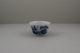 Lowestoft Porcelain Very Rare Windy Day Pattern Teabowl and Saucer, C1760 (2)