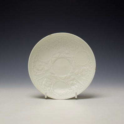 Lowestoft White Hughes Moulded Teabowl and Saucer c1762-65 (8)