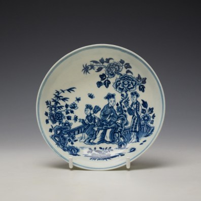 Worcester The Three Ladies Pattern Teabowl and Saucer c1770-80 (8)