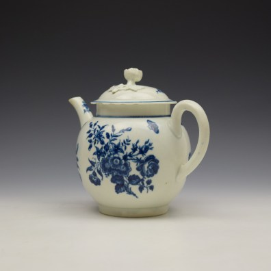 Worcester Three Flowers Pattern Teapot and Cover c1770-80 (7)