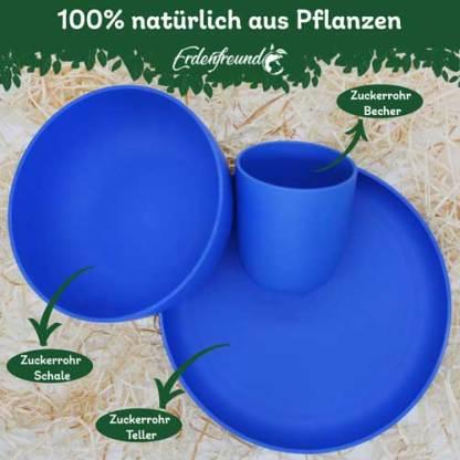 Plastikfreies Pflanzengeschirr blau