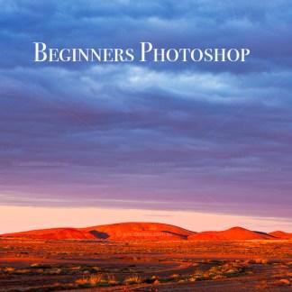 Outback Australian landscape with Beginners Photoshop wording over it. Photoshop courses mildura