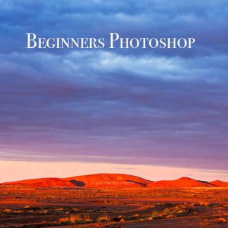 Outback Australian landscape with Beginners Photoshop wording over it. Photoshop courses mildura