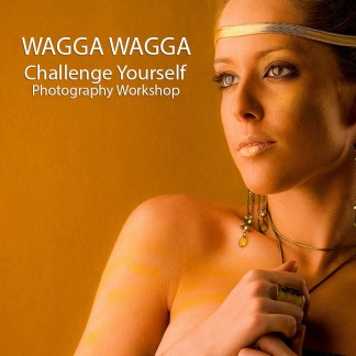 Product shot for Challenge YOurself Photography Workshop Wagga Wagga portrait of beautiful youg woman gold tones.
