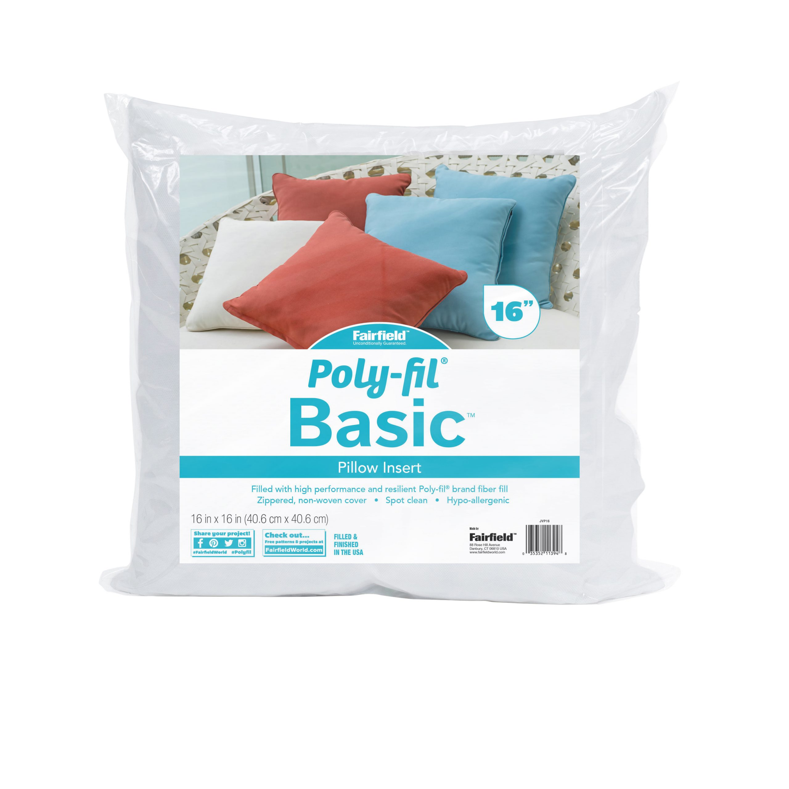 poly fil basic pillow insert 16 x 16