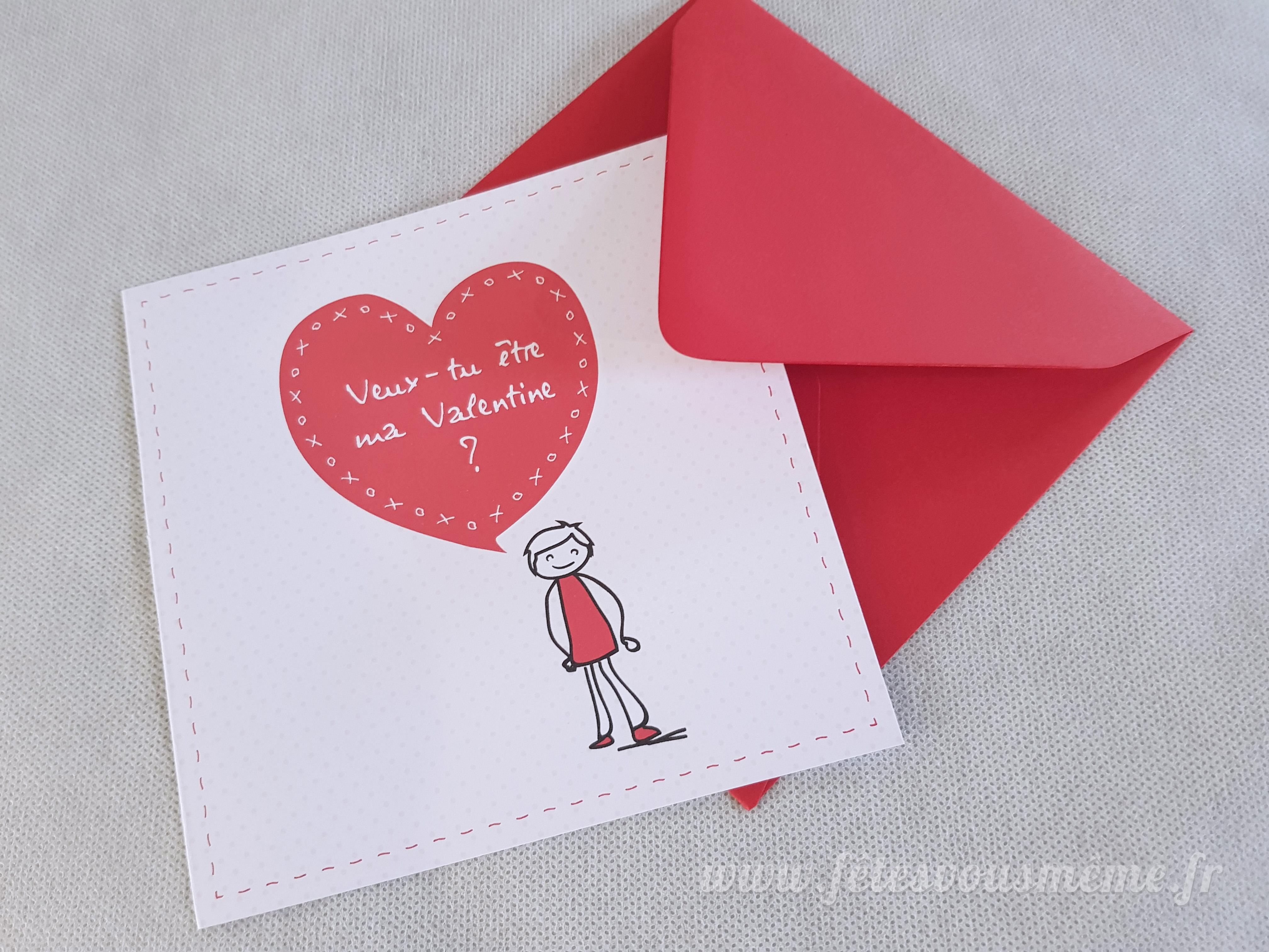 """Carte Saint Valentin """"Be my Valentin(e)"""" - Boutique Fêtes vous même"""