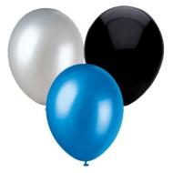 Ballons bleu argent noir - Fêtes vous même