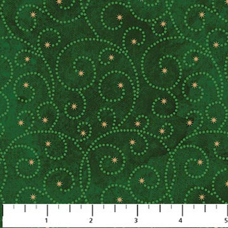 Cotton Stonehenge Starry Night 2 Swirls Green Cotton Fabric Print By The Yard 20104m 79