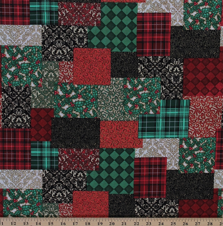 Cotton Christmas Elegance Patchwork Look Holiday Cotton