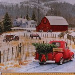 36 X 44 Panel Holiday Red Truck Christmas Tree Country Farm House Winter Scene Red Barn Tractor Horses Christmas Memories Cotton Fabric Panel P8691 Country