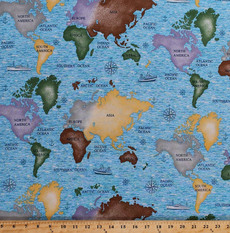 Cotton World Maps North South America Asia Africa Europe Australia     Cotton World Maps North South America Asia Africa Europe Australia Atlantic  Pacific Oceans Seas Continents Compass Cruise Ships Ocean Liners World  Travel