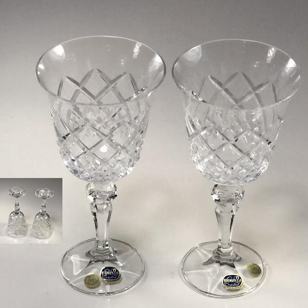 ボヘミアクリスタルワイングラスペアT1987