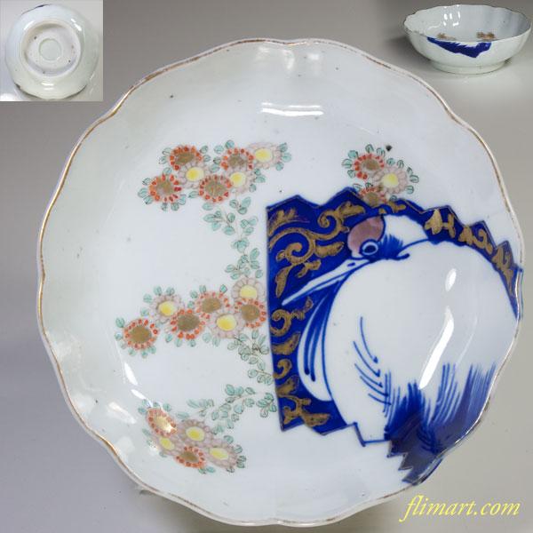 鶴花金彩唐草膾皿