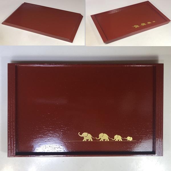 象彦木製漆器金蒔絵トレイ角盆