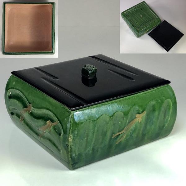 清楽緑釉蓋付菓子器