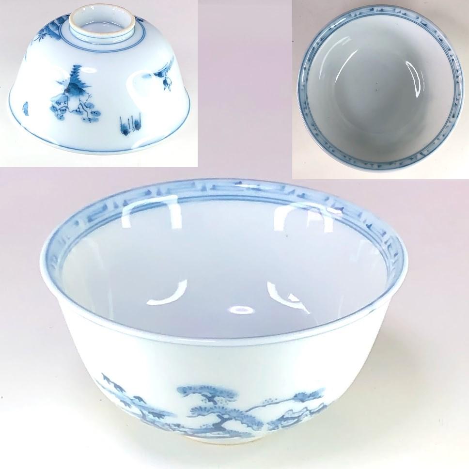 染付山水茶碗W8555