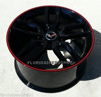 GLOSS BLACK C7 Z51 STYLE WHEELS WITH RED LIP BASE STINGRAY
