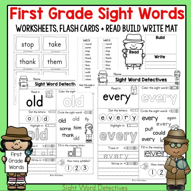 First Grade Sight Words Worksheets and Activities