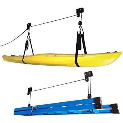 RADD Sportz Kayak Hoist Quality Garage Storage Canoe Lift with 125 lb Capacity Even Works as Ladder Lift Premium Quality