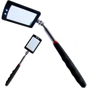 Telescoping LED Lighted Inspection Mirror