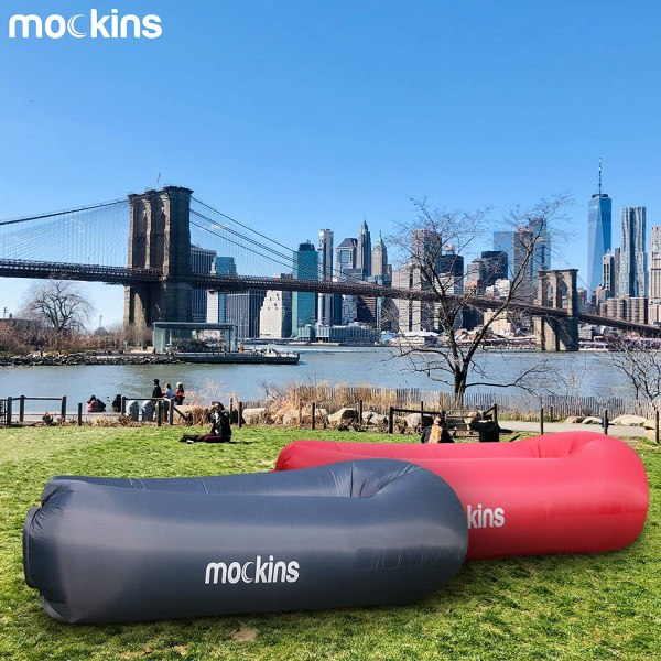 Mockins 2 Pack Navy & Red Inflatable Lounger Air Sofa Perfect for Beach Chair Camping Chairs or Portable Hammock and Includes Travel Bag Pouch and Pockets | Easy to Use Camping Accessories