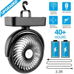 Portable Battery Camping Fan with LED Lantern