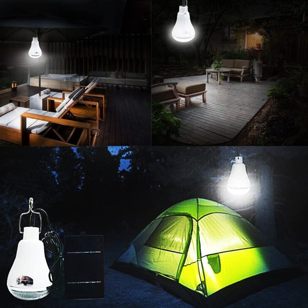 Solar Lights Camping Lamp with Solar Panel and Remote Control 30W LETOUR 3000Lumen Rechargeable LED Bulb 2 Dimming Modes Work Light IP44 Splash Prevention