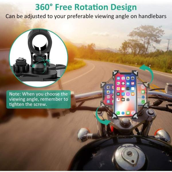 Bike Phone Mount, TEUMI Anti-Shake Bicycle Motorcycle Phone Holder 360° Rotation Universal Cradle Clamp for iPhone 11/11 Pro Max/XR/X/8/7, Samsung Galaxy Note 10 Plus/S20/S20 Plus/S20 Ultra/S10
