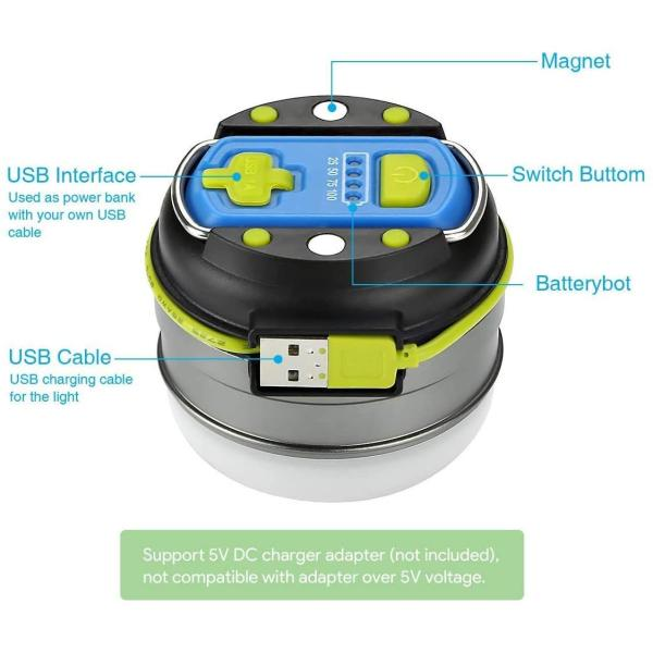 LE USB Rechargeable LED Camping Lantern, 280lm Outdoor Portable Tent Light with Magnet, 3000mAh Power Bank, 3 Lighting Modes, Waterproof Emergency Mini Camp Lantern Light