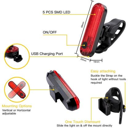 Wastou Bike Lights Super Bright Bike Front Light 1200 Lumen IPX6 Waterproof 6 Modes Cycling Light Flashlight Torch USB Rechargeable Tail Light