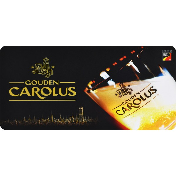 Bar mat Gouden Carolus with logo, glass and Mechelen skyline