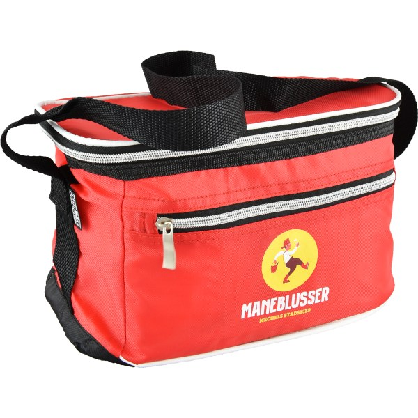 Red thermal bag with Maneblusser logo