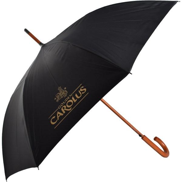 TheGouden Carolus Umbrella met zwarte stof en Gouden Carolus logo