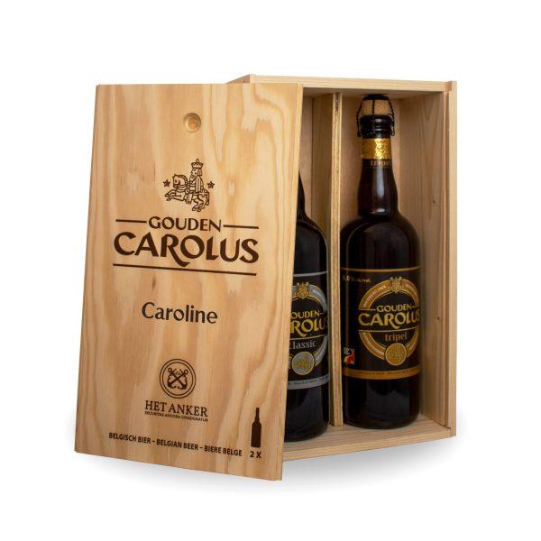 Gepersonaliseerde houten bierkist Gouden Carolus Classic + Tripel 2x75cl - Binnenzijde