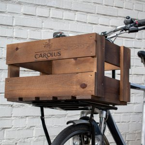Gouden Carolus bicycle crate- side view