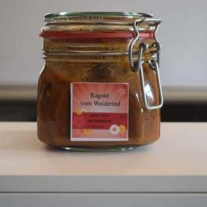 Ragout vom Weiderind, mit Steinpilzen,  in Burgundersoße, Kartoffelklöße 2Portionen