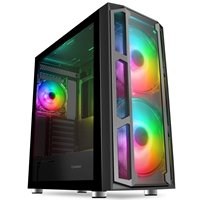 GameMax F15G Full Tower 1 x USB 3.0 / 2 x USB 2.0 Tempered Glass Side & Front Window Panels Black Case with Addressable RGB LED Fans