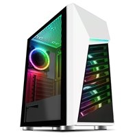 CiT Alpha White Mid Tower 1 x USB 3.0 / 2 x USB 2.0 Tempered Glass Side Window Panel White Case with Addressable RGB LED Lighting & Fans