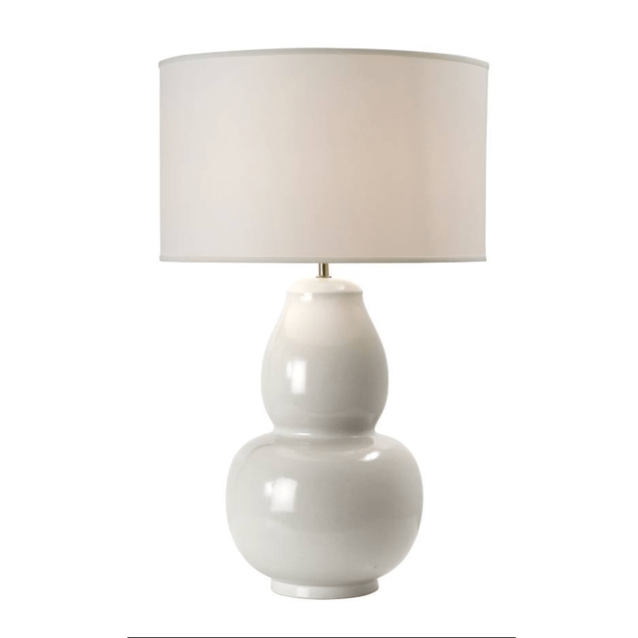 Ivory Gourd Shaped Lamp with Drum Shade