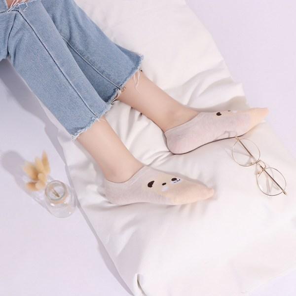 現貨 貓熊青蛙動物 卡通 春夏季 棉 女 船襪 襪子 (一組五雙)