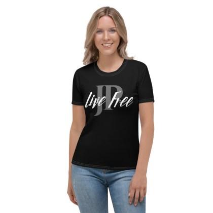 Dames T-shirt | Live Free – zwart