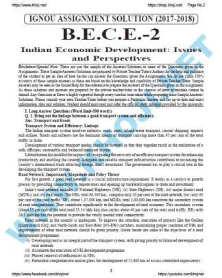 BECE-002 Solved Assignment In English Medium For IGNOU BA BDP 2017 2018