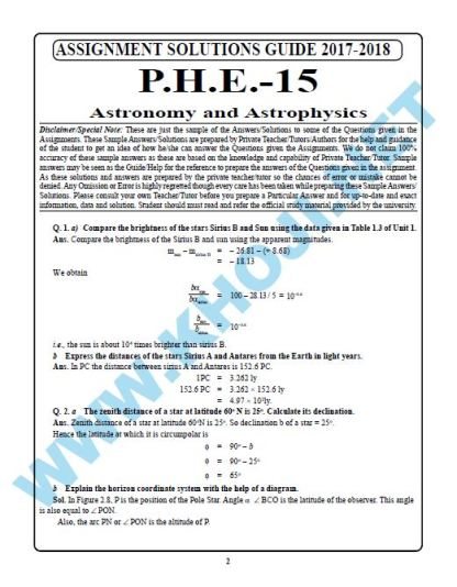 IGNOU Bsc solved assignment PHE-15 2017-18 English Medium