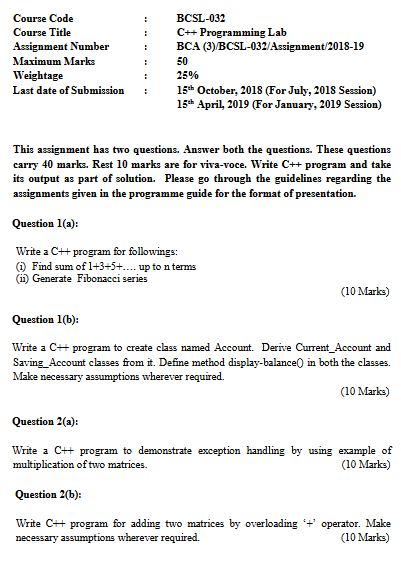 BCSL-032 Solved Assignment 2018-2019 For IGNOU BCA In PDF