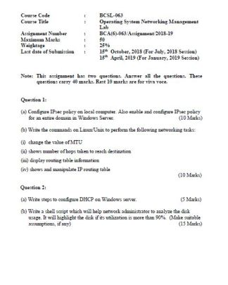 BCSL-063 Solved Assignment 2018-19 IGNOU BCA PDF Solution